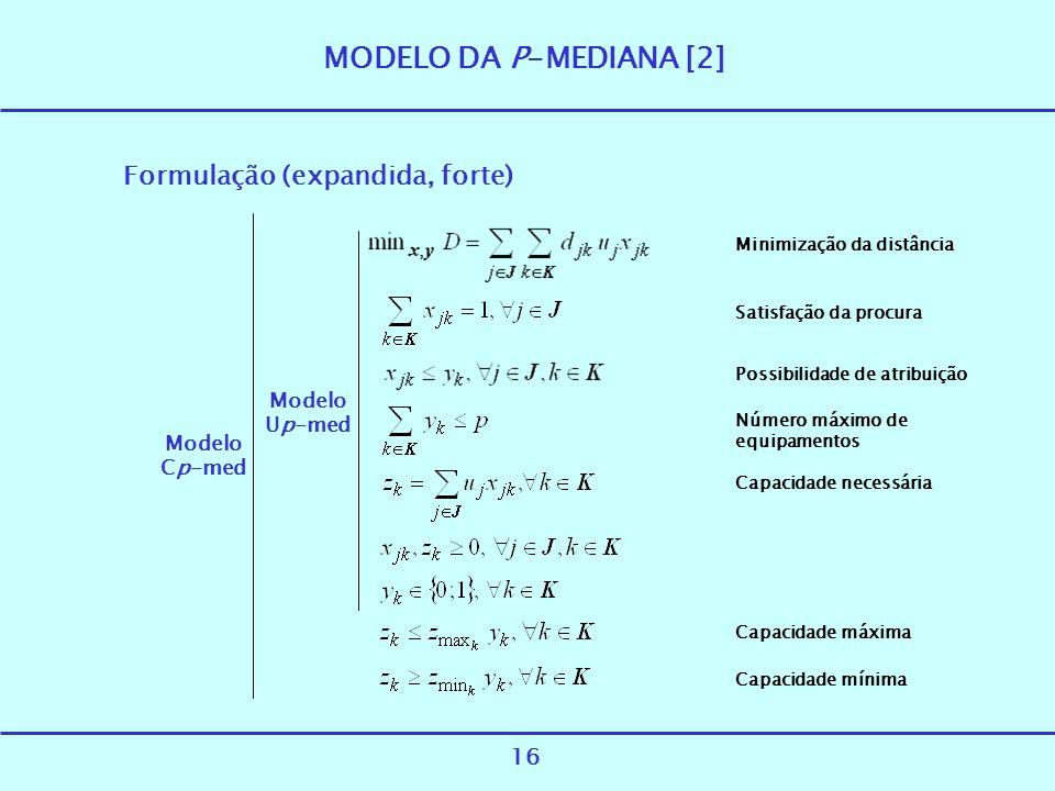 MODELO DA P-MEDIANA [2] Formulação (expandida, forte) Modelo Up-med